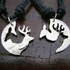 buck and doe couples necklace buck and doe quarter necklace browning from ediebaron on etsy