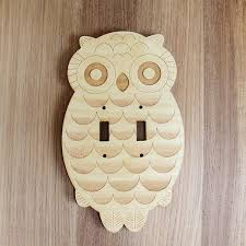 wood laser cut owl light switch plate creative route