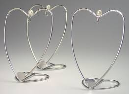 ornament stands set of 3 silver ornament