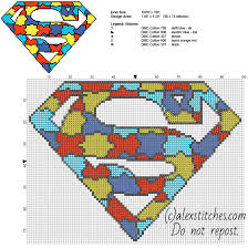 colored puzzle superman superhero logo free cross stitch pattern