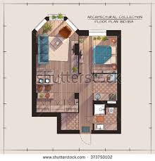 Color Floor Plan Architectural Color Floor Plan Studio Apartment Stock Vector