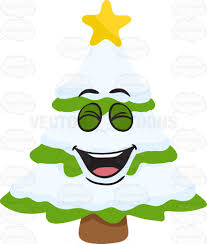 a laughing christmas tree covered in snow cartoon clipart vector