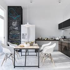 design scandinavian monochrome kitchen black accents white fridge