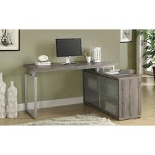 monarch computer desk cappuccino corner with frosted glass