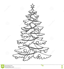 christmas tree graphic art black white isolated sketch