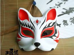 painted half japanese fox mask black