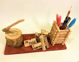 Pencil Holders For Desks Wooden Pencil Holder Pen Vase Desktop Valet Office Organizer Wood