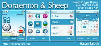 download themes doraemon doraemon and the sheep theme for nokia asha 202 300 303 x3 02 c2