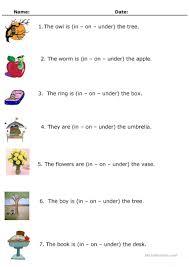in on or under worksheet free esl printable worksheets made by
