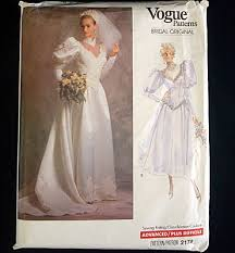 vogue wedding dress patterns vogue 1988 size 8 bridal wedding dress sewing pattern from