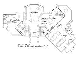 craftsman house plan for sloping lots has front and rear decks