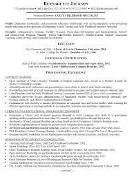 brilliant ideas of sample resume for early childhood teacher for