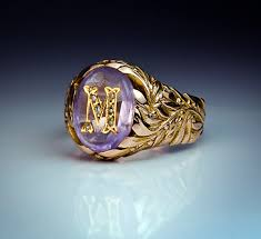 Monogramed Rings Vintage Amethyst Monogrammed Mens Ring Antique Jewelry Vintage