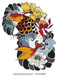hand drawn koi fish flower tattoo stock vector 587218301