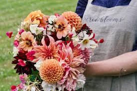 fierceblooms creates a wild garden style dahlia bouquet fierce
