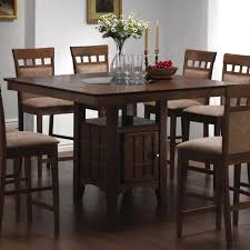 dining room square wooden tall dining table in solid espresso for