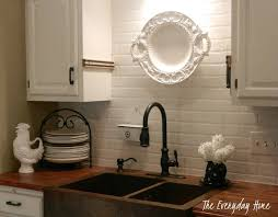 faux kitchen backsplash budget friendly painted brick backsplash at the everyday home