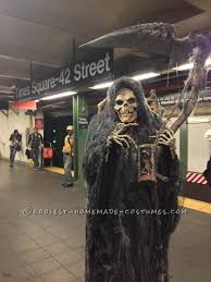 Halloween Hangman Skeleton Game Homemade Angel Of Death Grim Reaper Costume Grim Reaper Costume