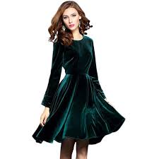 velvet dress 2017 women winter vintage green velvet dress womens sleeve