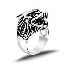 silver steel rings images Steel wolf 39 s head ring fanduco jpg