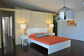 Orange And White Bedroom Orange And White Bedroom With Floating Wall Modern Bedroom