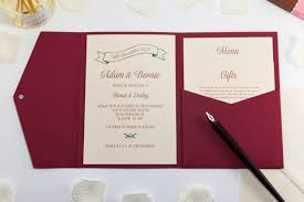 pocket fold vintage wedding invitation in pocketfold bossa