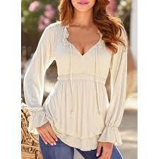 elastic waist blouse plunging neck flare sleeve solid color elastic waist blouse