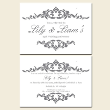 25th wedding anniversary invitations silver wedding anniversary invites invitation ideas