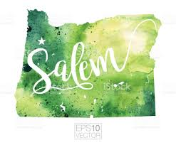 Salem Oregon Map by Salem Oregon Usa Vector Watercolor Map Stock Vector Art 668046524
