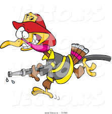 vector of a cartoon fire fighter turkey running with water hose by