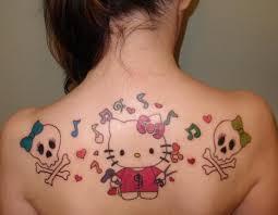 cute girly skull tattoo on back shoulder photo 3 real photo