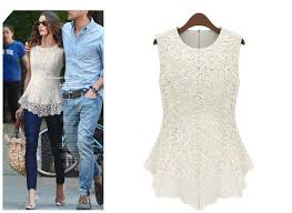 2015 s sleeveless crew collar lace peplum blouse top vest