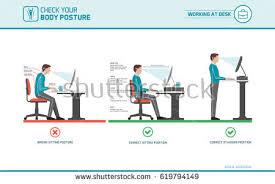 Computer Desk Posture Ergonomic Stock Images Royalty Free Images Vectors