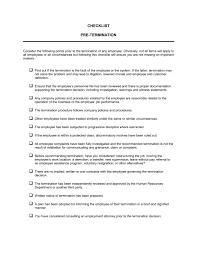 checklist pretermination template u0026 sample form biztree com
