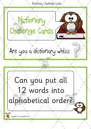 Challenge Dictionary Pet Dictionary Challenge Cards Premium Printable Classroom