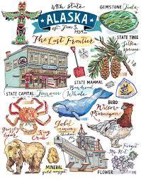 Alaska Travel Symbols images Alaska print illustration map state symbols bird flower jpg