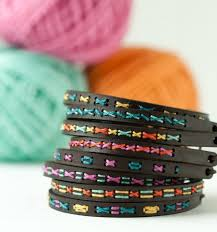 cuff bracelet tutorials images Diy embroidery kit super skinny leather cuff bracelet beginner jpg