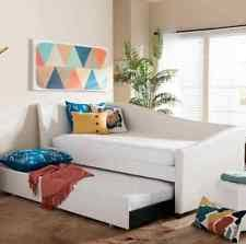daybed with trundle bed brown faux leather furniture lounge kids