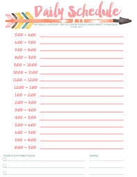 hourly schedule template daily schedule for kids template