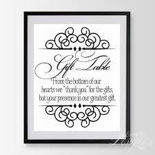 wedding gift table sign eccentric designs custom stationery personalized gift items