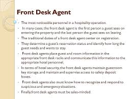 front desk agent duties classification of functional areas ppt download