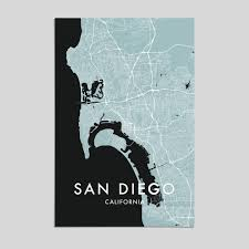 San Diego City Map by San Diego California City Map Print Style 3 U2013 Artefact Maps