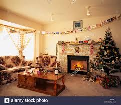 living room christmas tree calgary canada event december stock