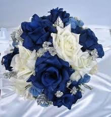 wedding flowers ebay 21pc bridal bouquet wedding flowers navy ivory silver ebay