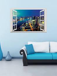 3d night city fake window wall sticker blue in wall stickers 3d night city fake window wall sticker blue