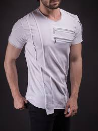 men asymmetrical zippers t shirt white