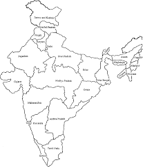 India Blank Outline Map by Map Clipart Black And White