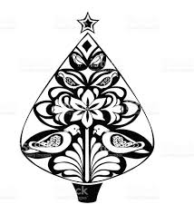 stylistic black and white christmas tree stock vector art