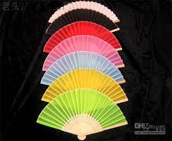 wholesale fans 2018 7 portable plain silk fabric women fans folding