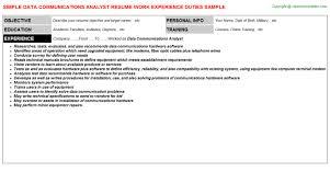 Data Communications Analyst Resume